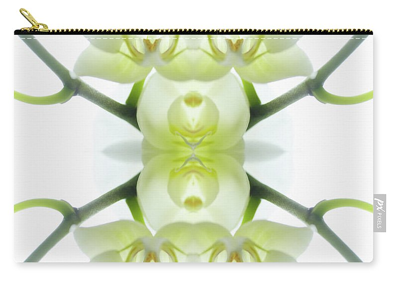 Tranquility Carry-all Pouch featuring the photograph White Orchid With Stems by Silvia Otte