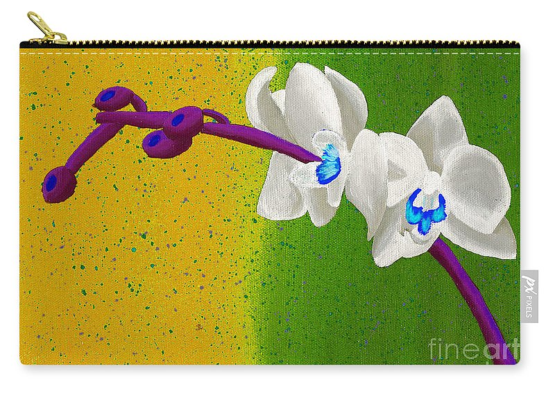 White Orchids Carry-all Pouch featuring the painting White Orchids On Yellow And Green by Laura Forde