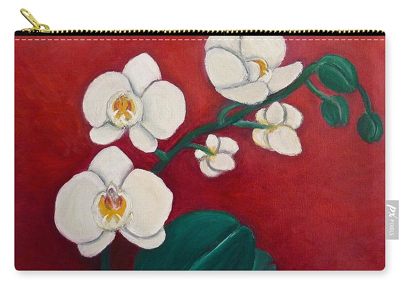 Orchids Carry-all Pouch featuring the painting White Orchids by Victoria Lakes