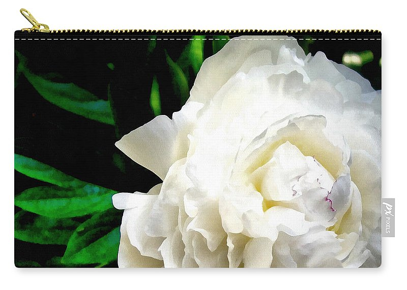 Peony Carry-all Pouch featuring the photograph White Peony by Michelle Calkins