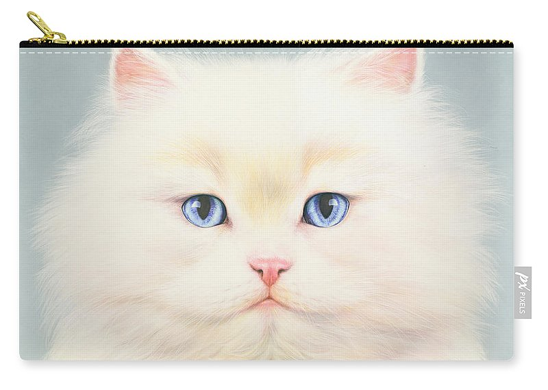 Andrew Farley Carry-all Pouch featuring the photograph White Persian by MGL Meiklejohn Graphics Licensing