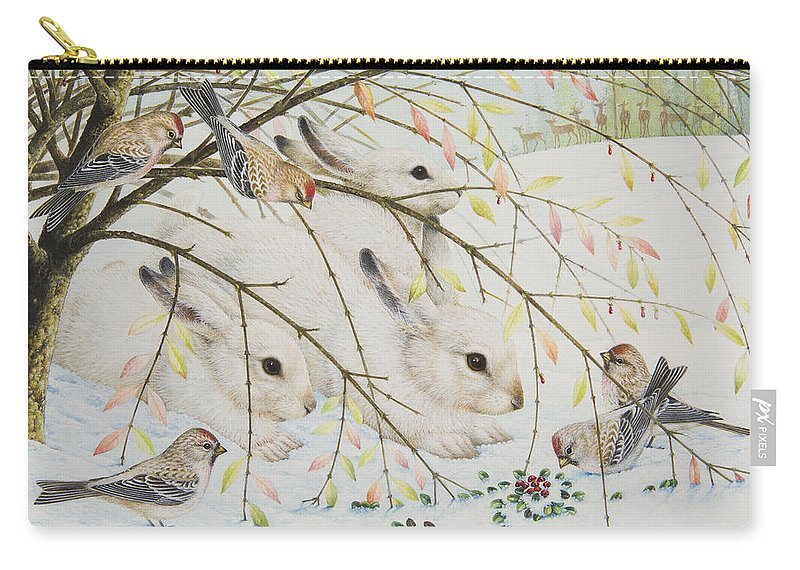 Christmas Carry-all Pouch featuring the painting White Rabbits by Lynn Bywaters