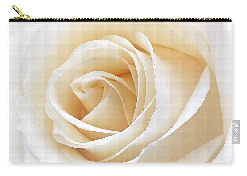 Rose Carry-all Pouch featuring the photograph White Rose Heart by Gill Billington