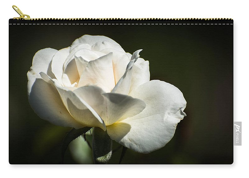 Rose Carry-all Pouch featuring the photograph White Rose by Michael Moriarty