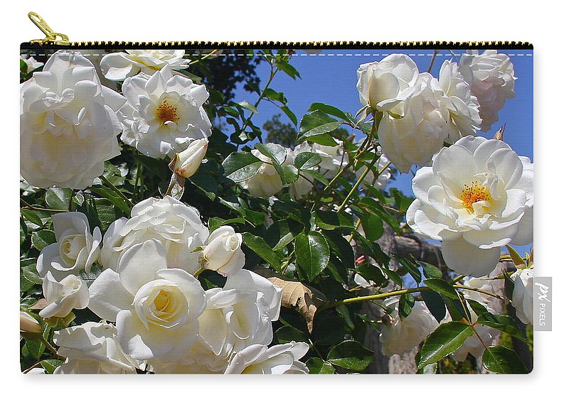 Rose Carry-all Pouch featuring the photograph White Roses by Denise Mazzocco