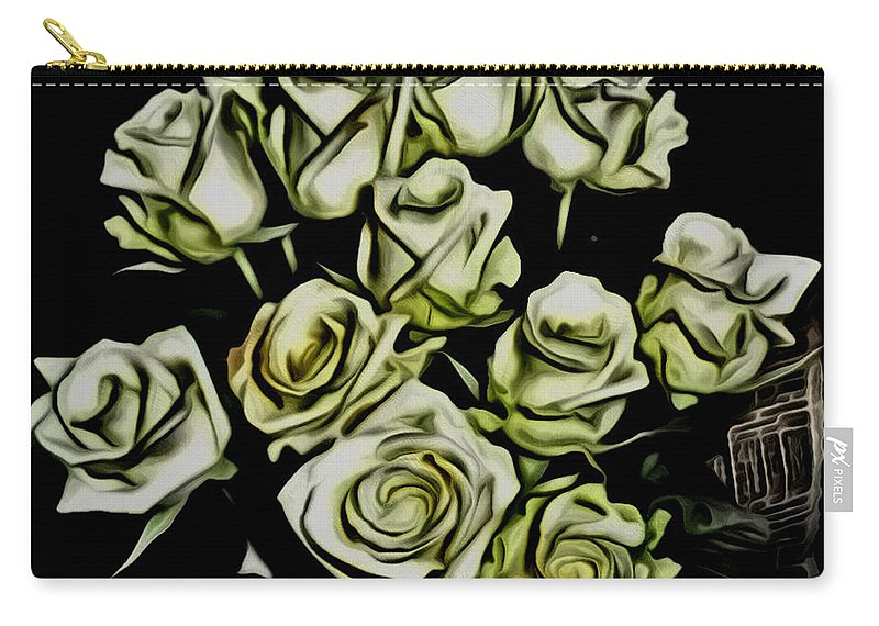 Moving On Carry-all Pouch featuring the painting White Roses - Moving On by Withintensity Touch