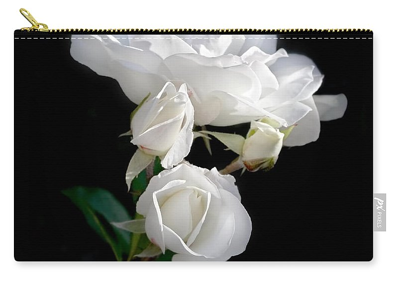 Rose Carry-all Pouch featuring the photograph White Roses In The Moonlight by Jennie Marie Schell