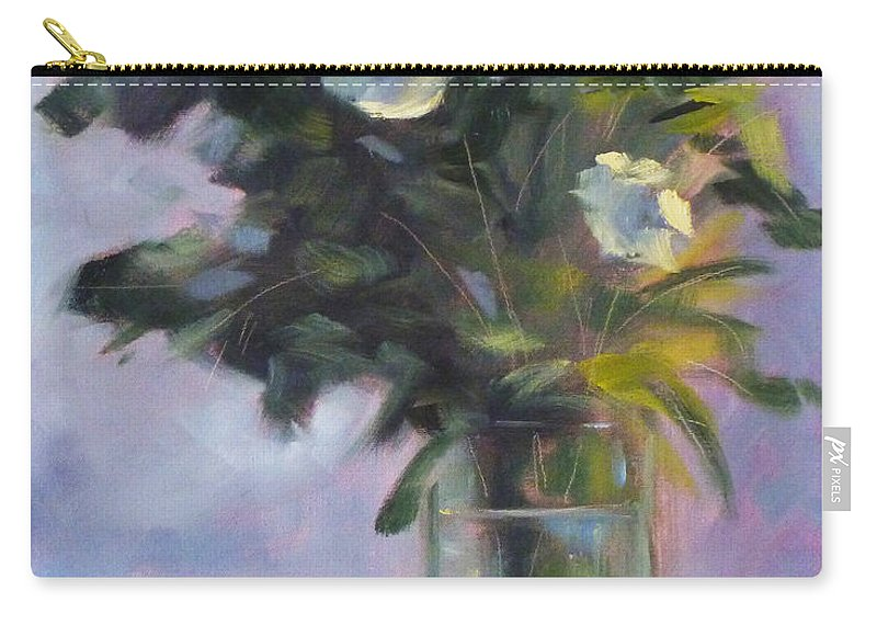 White Carry-all Pouch featuring the painting White Roses by Nancy Merkle
