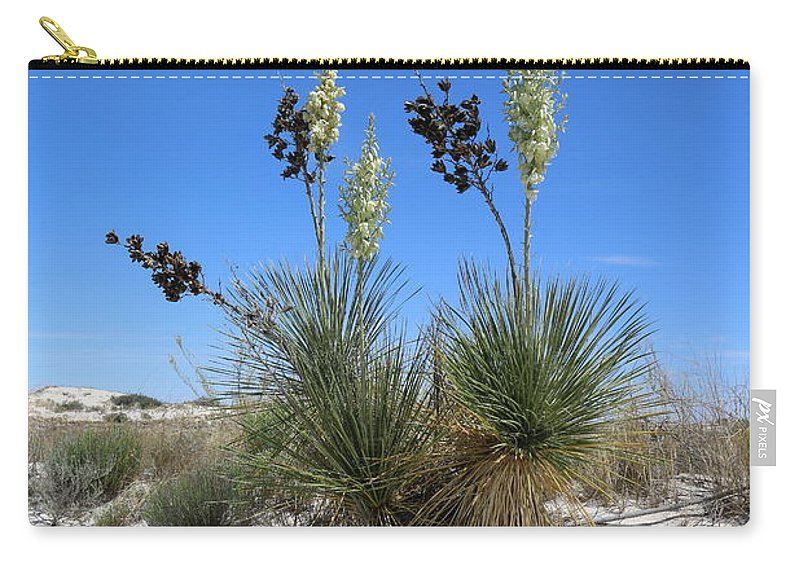 New Mexico Carry-all Pouch featuring the photograph White Sands Dune With Soap Yucca by Christiane Schulze Art And Photography