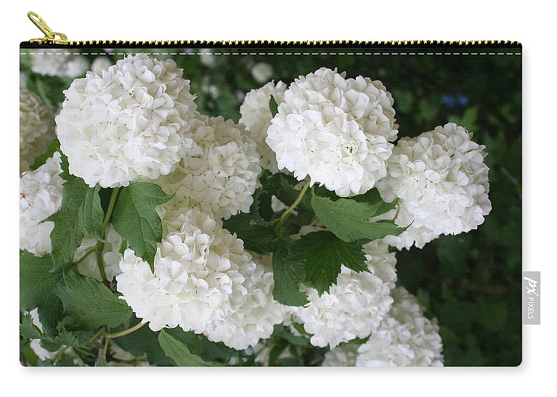 White Snowball Carry-all Pouch featuring the photograph White Snowball Bush by Christiane Schulze Art And Photography