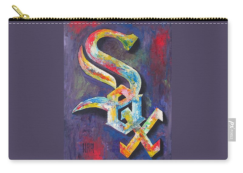 Baseball Carry-all Pouch featuring the painting Chicago White Sox Baseball by Dan Haraga