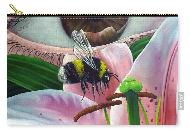 Bumble Bee Carry-all Pouch featuring the painting White Tailed Bumble Bee Upon Lily Flower by Christopher Shellhammer