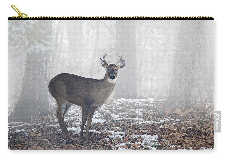 Art Carry-all Pouch featuring the photograph White Tailed Deer Buck In The Mist by Randall Nyhof