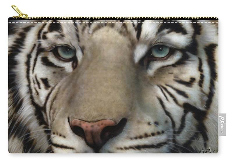 Siberian Tiger Carry-all Pouch featuring the painting White Tiger - Up Close And Personal by Wayne Pruse