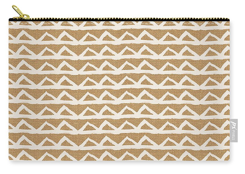 Triangles Carry-all Pouch featuring the mixed media White Triangles On Burlap by Linda Woods
