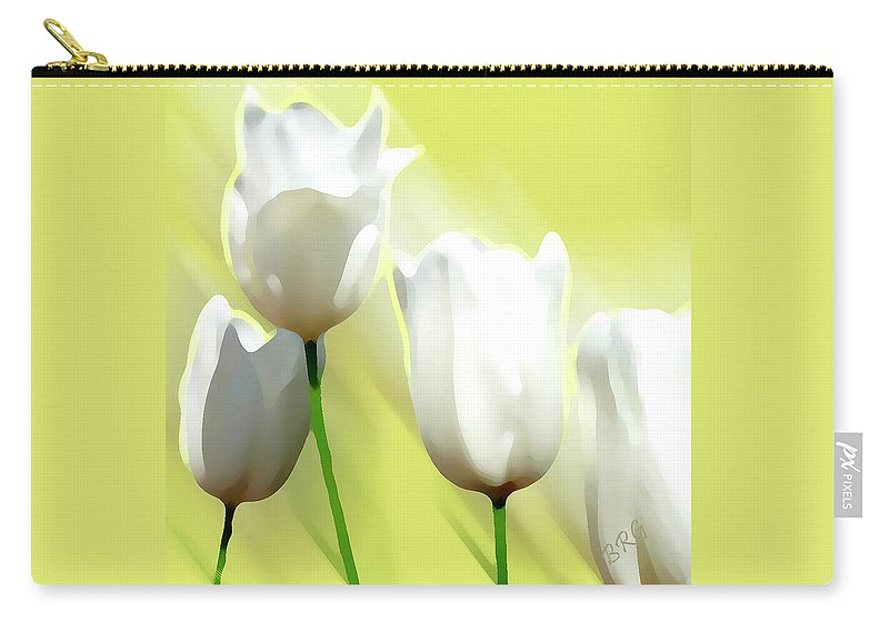 Spring Bloom Carry-all Pouch featuring the photograph White Tulips by Ben and Raisa Gertsberg