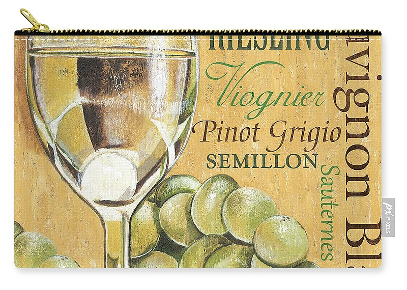 Wine Carry-all Pouch featuring the painting White Wine Text by Debbie DeWitt
