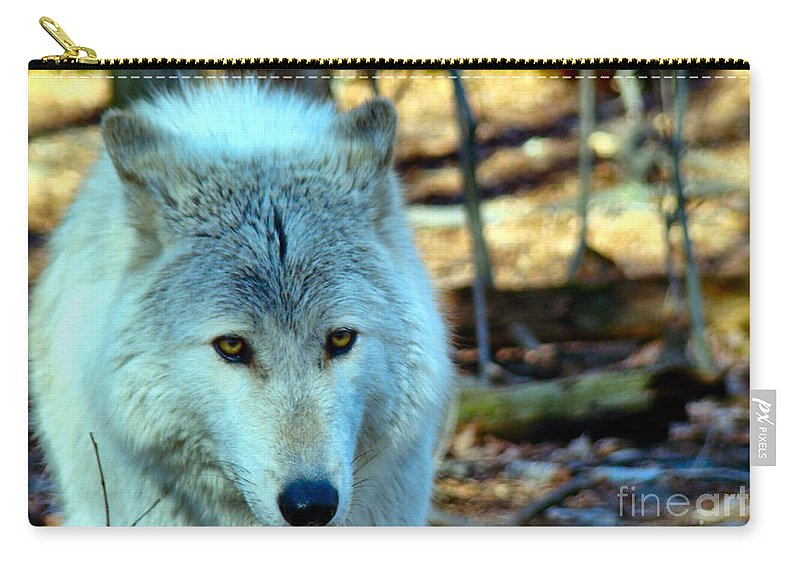Wolf Carry-all Pouch featuring the photograph White Wolf by Art Dingo