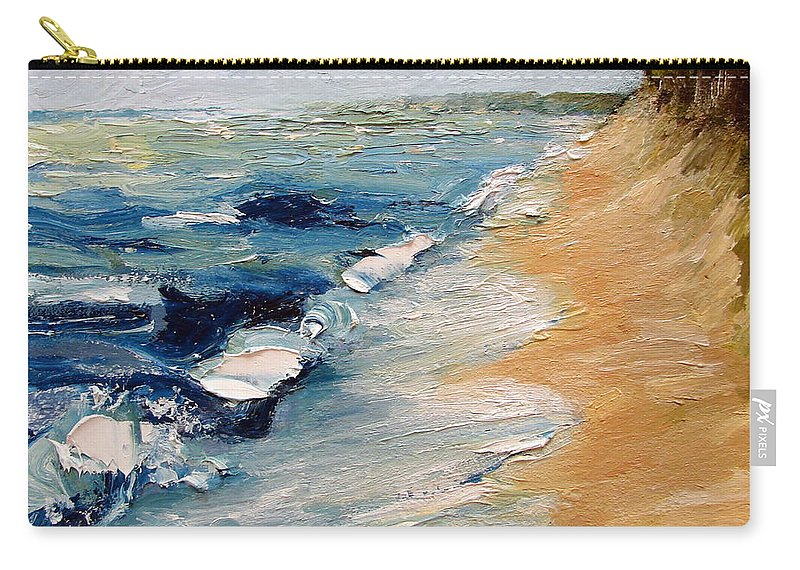 Whitecaps Carry-all Pouch featuring the painting Whitecaps on Lake Michigan 3.0 by Michelle Calkins