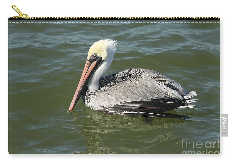 Pelican Carry-all Pouch featuring the photograph Whiteheaded Pelican by Christiane Schulze Art And Photography