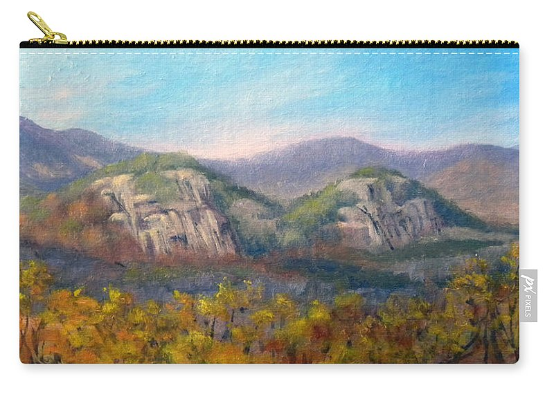 Landscape Carry-all Pouch featuring the painting Whitehorse And Cathedral Ledges From The Red Jacket Inn by Sharon E Allen