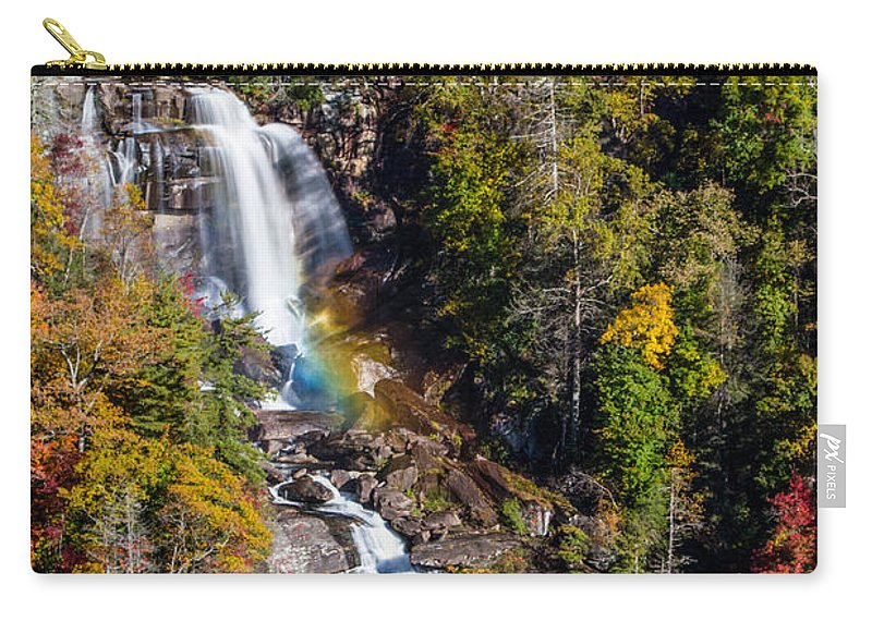 Whitewater Falls Carry-all Pouch featuring the photograph Whitewater Falls With Rainbow by John Haldane