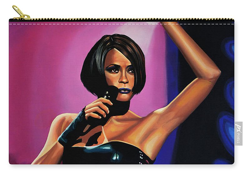 Whitney Houston Carry-all Pouch featuring the painting Whitney Houston On Stage by Paul Meijering