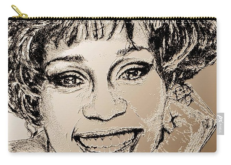 Whitney Carry-all Pouch featuring the digital art Whitney Houston In 1992 by J McCombie