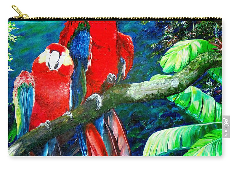 Caribbean Painting Green Wing Macaws Red Mountains Birds Trinidad And Tobago Birds Parrots Macaw Paintings Greeting Card  Carry-all Pouch featuring the painting Who Me  by Karin Dawn Kelshall- Best