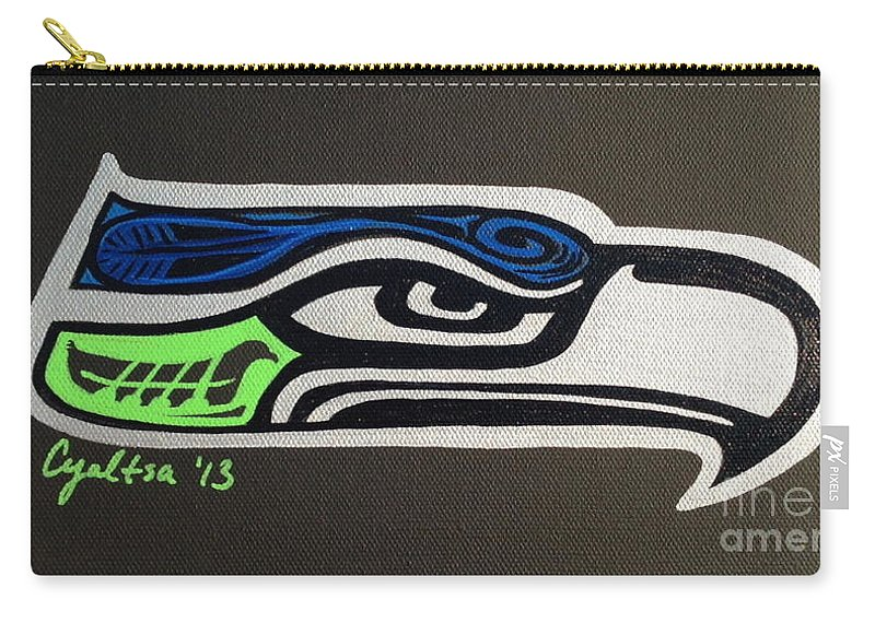Seattle Seahawks Carry-all Pouch featuring the painting Who Ready by A Cyaltsa Finkbonner