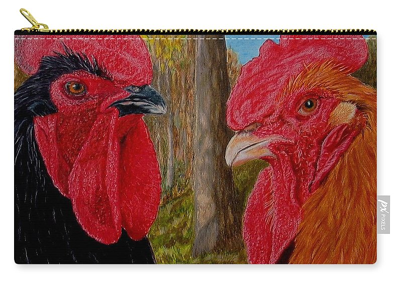 Roosters Carry-all Pouch featuring the painting Who You Calling Chicken by Karen Ilari