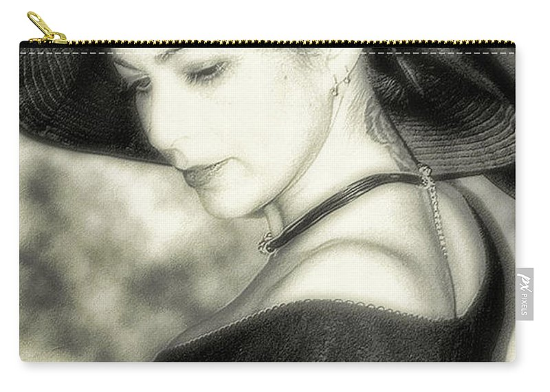 Black And White Carry-all Pouch featuring the photograph Wiccan Lady by Kristie Bonnewell