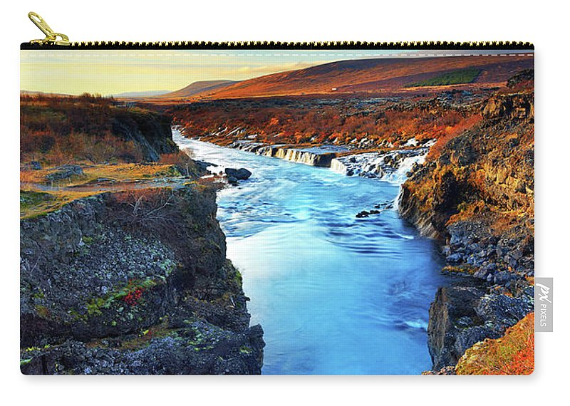 Scenics Carry-all Pouch featuring the photograph Wide Angle Of Hraunfossar Flowing Into by Anna Gorin