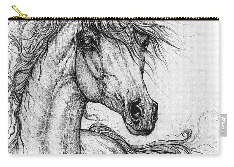 Horse Carry-all Pouch featuring the drawing Wieza Wiatrow Polish Arabian Mare Drawing 1 by Angel Ciesniarska