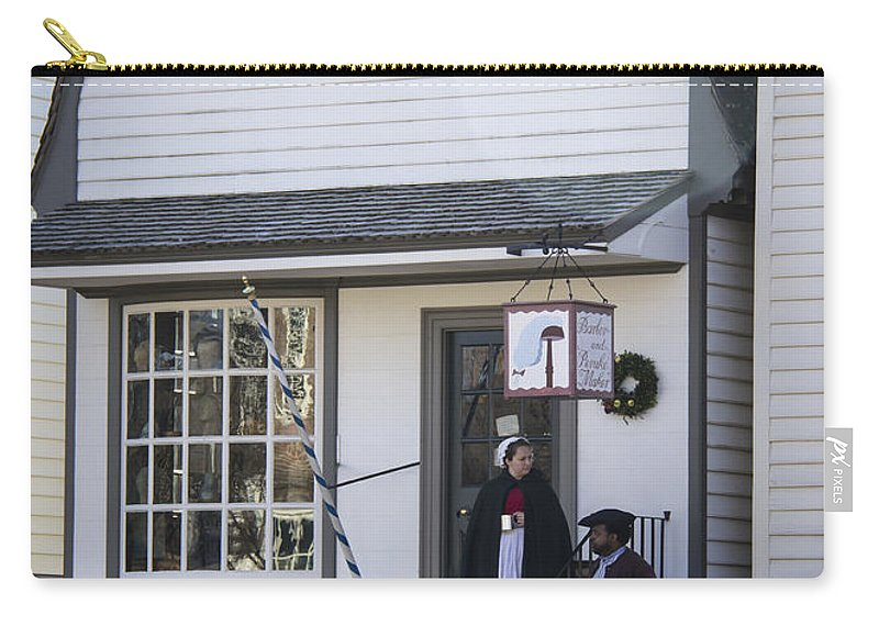 Colonial Carry-all Pouch featuring the photograph Wigmaker And Barber Shop Williamsburg Virginia by Teresa Mucha