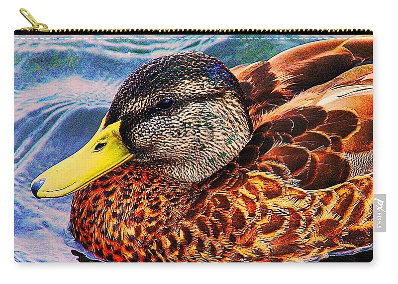 Wild Duck Carry-all Pouch featuring the photograph Wild Duck by Denyse Duhaime