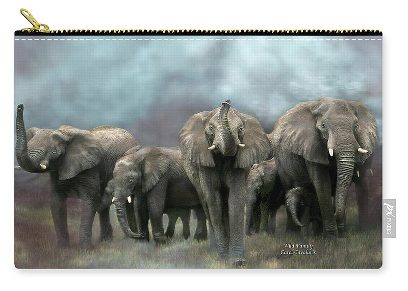 Elephant Carry-all Pouch featuring the mixed media Wild Family by Carol Cavalaris