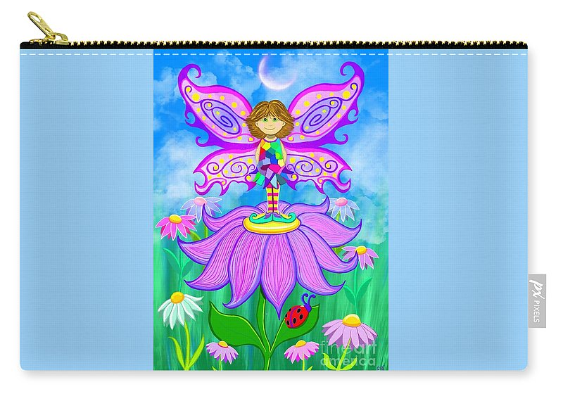 Fairy Carry-all Pouch featuring the painting Wild Flower Fairy by Nick Gustafson