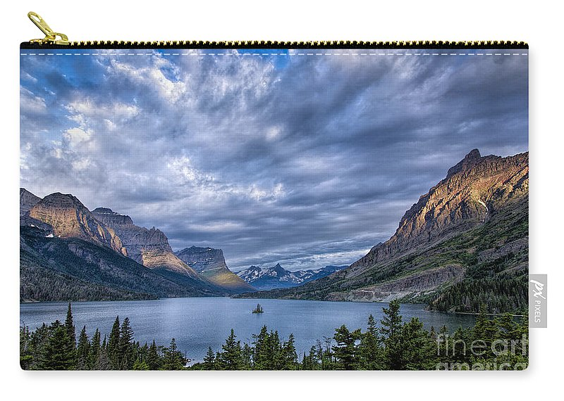 Glacier Carry-all Pouch featuring the photograph Wild Goose Island Glacier Park by Timothy Hacker