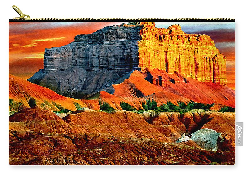 Butte Carry-all Pouch featuring the painting Wild Horse Butte Utah by Bob and Nadine Johnston