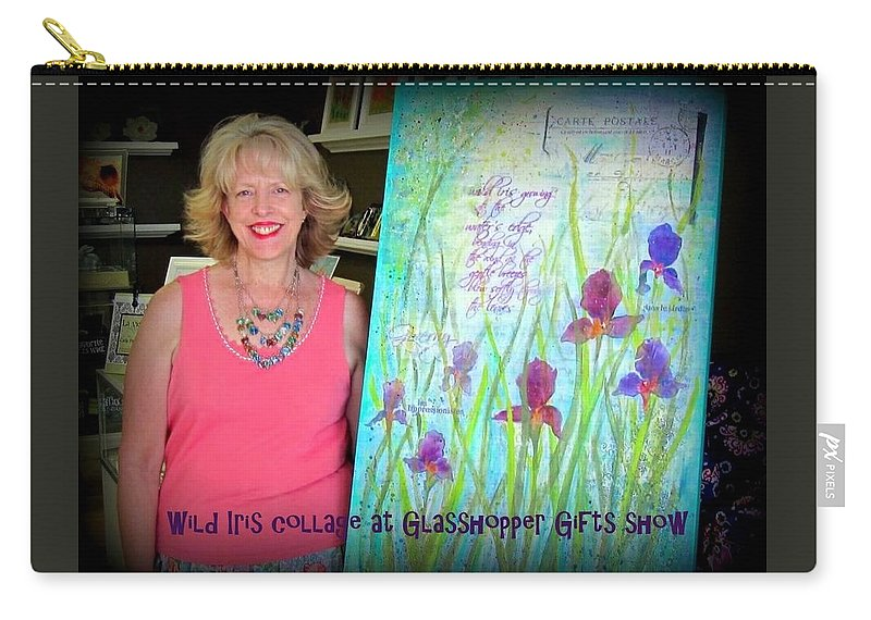 Iris Carry-all Pouch featuring the photograph Wild Iris Collage At Glasshopper Gifts Show by Carla Parris