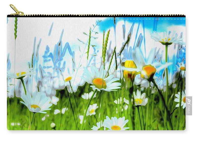 Daisy Carry-all Pouch featuring the photograph Wild Ones - Daisy Meadow by P Donovan