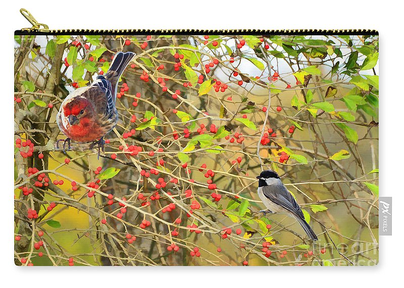 Nature Carry-all Pouch featuring the photograph Wild Red Berrie Bush With Birds - Digital Paint by Debbie Portwood