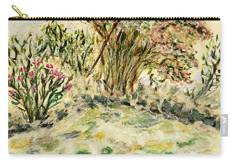 Rhododendron Carry-all Pouch featuring the painting Wild Rhododendrons Near The River by Augusta Stylianou