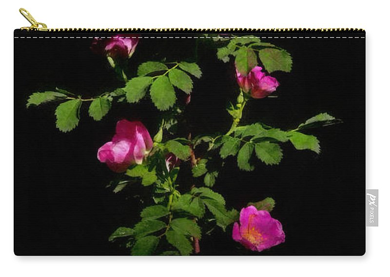 Roses Carry-all Pouch featuring the digital art Wild Roses by Ernie Echols