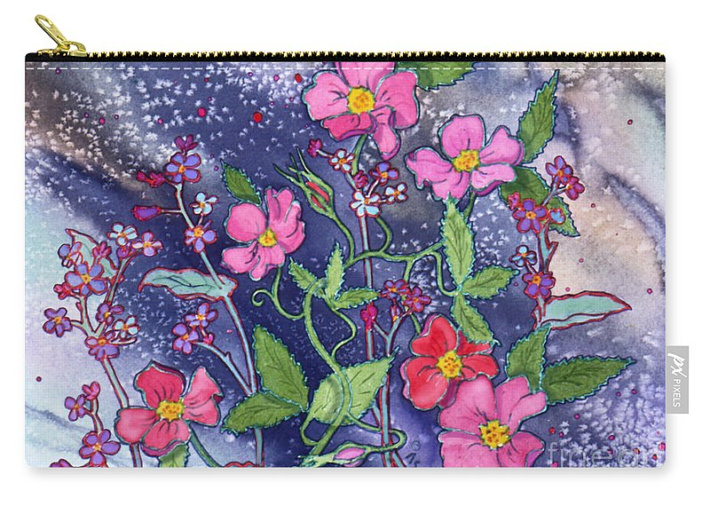 Wild Roses Carry-all Pouch featuring the painting Wild Roses by Teresa Ascone
