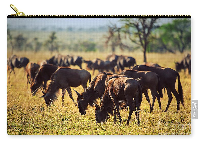 Gnu Carry-all Pouch featuring the photograph Wildebeests Herd. Gnu On African Savanna by Michal Bednarek