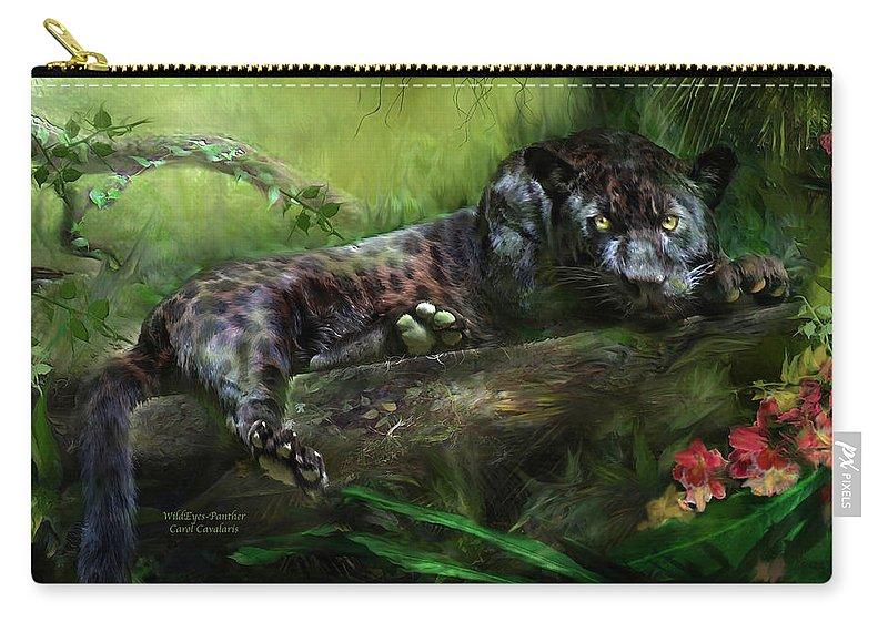 Panther Carry-all Pouch featuring the mixed media Wildeyes - Panther by Carol Cavalaris