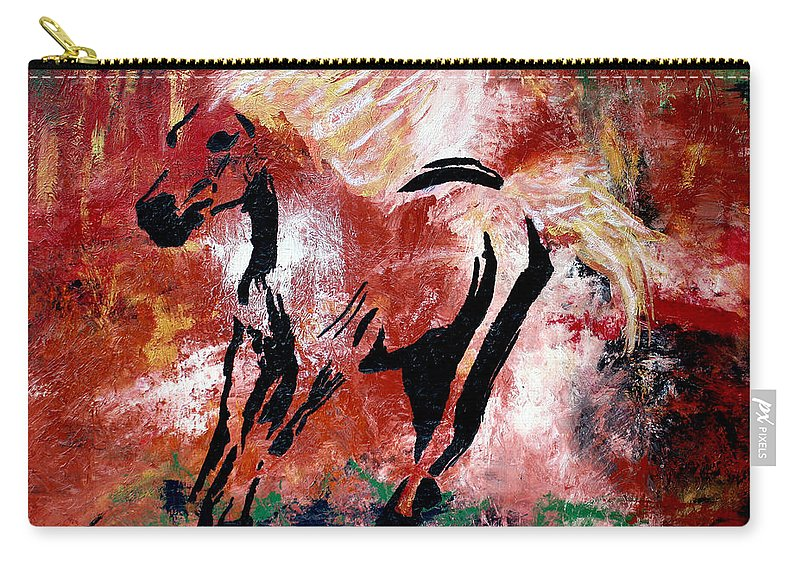 Original Painting Carry-all Pouch featuring the painting Wildfire by Nan Bilden