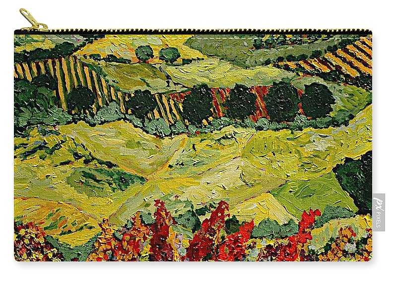 Landscape Carry-all Pouch featuring the painting Wildflower Jungle by Allan P Friedlander